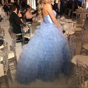 SHERRI HILL BLUE TULLE DRESS